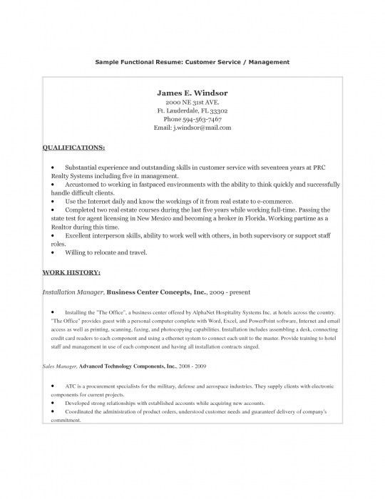The Brilliant Customer Service Functional Resume | Resume Format Web