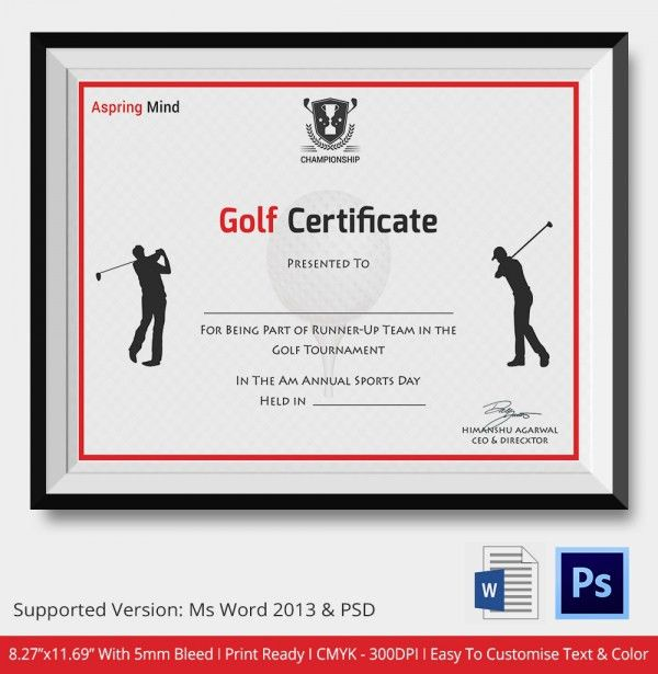 Golf Certificate Template - 5+ Word, PSD Format Download   Free ...