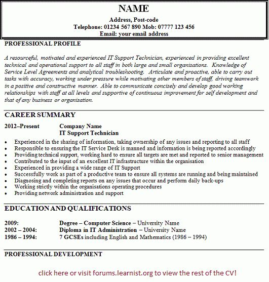 IT Support Technician CV Example - forums.learnist.org