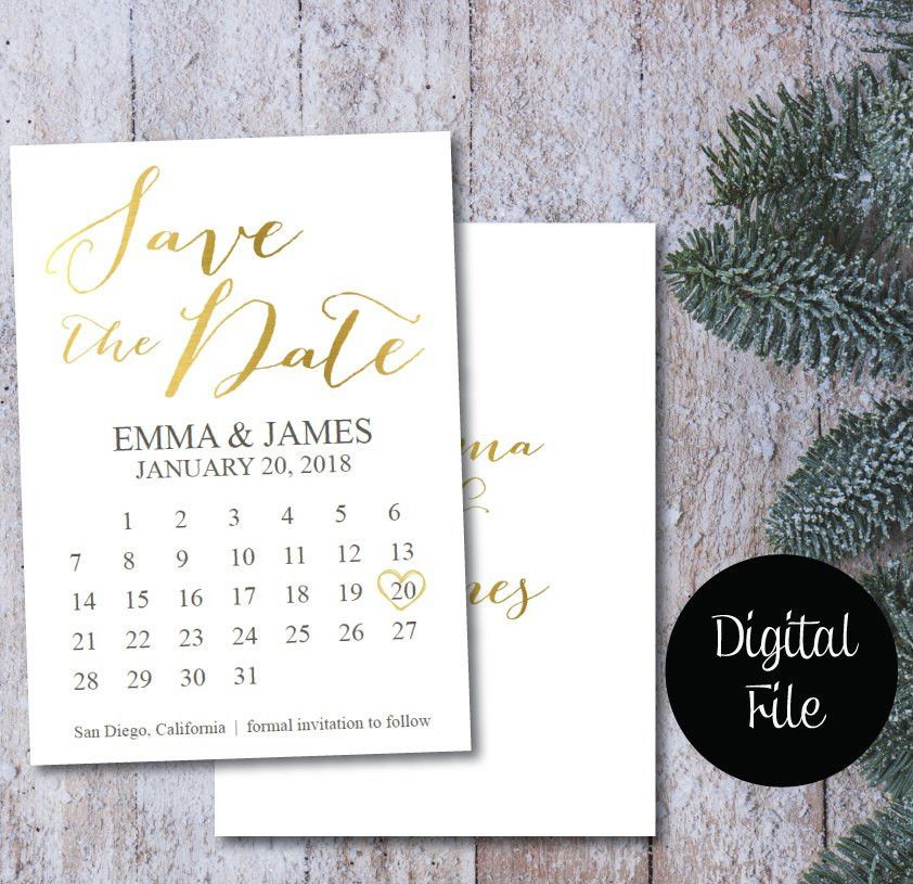 ON SALE Save the Date Calendar Template Postcard/Gold & White ...