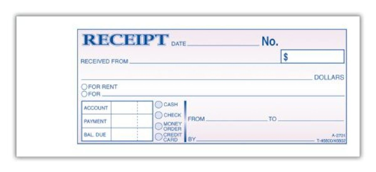 "Duplicate Carbonless Receipt Book, 2-Part, 2-3/4"" x 7-3/16"", 50 ST/BK"
