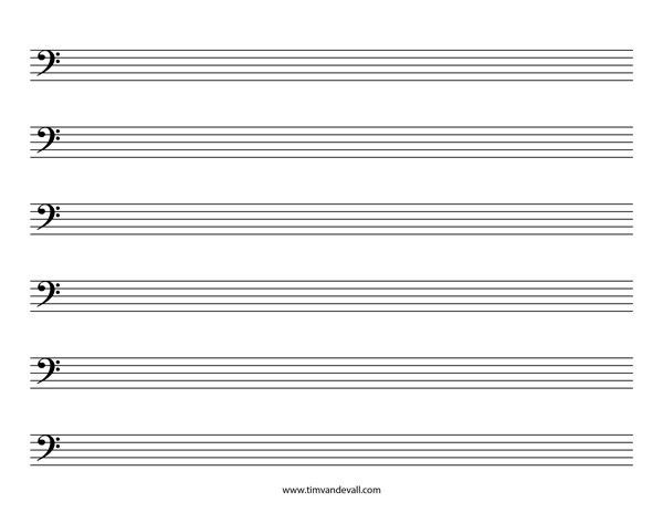 Printable Staff Paper Template. Blank Bass Clef Staff Paper Tim ...