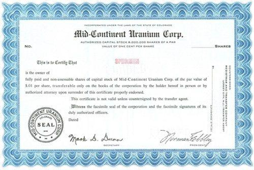Mid Continent Uranium Specimen Stock Certificate Blue