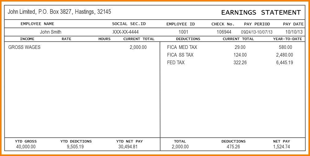 Free Paystub Template. free pay stub templates excel word social ...