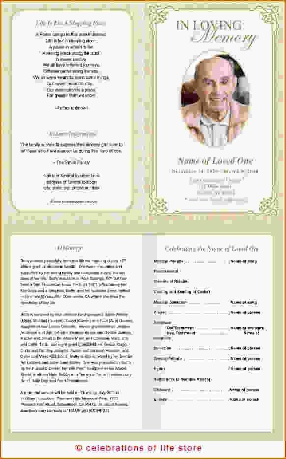 Funeral Templates Free Printable. downloadable funeral bulletin ...