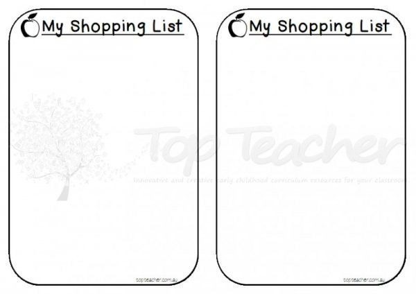 Shopping list templates | Top Teacher - Innovative and creative ...
