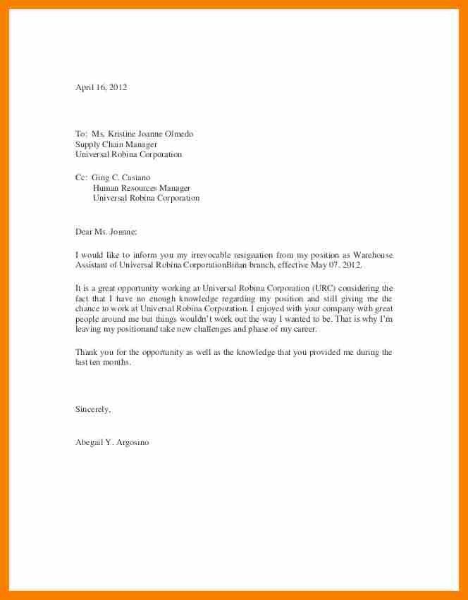 Resignation Letter Example With Reason.example Of Resigning Letter ...