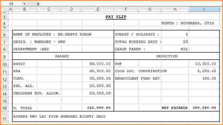 5+ salary pay slip excel format | Simple salary slip