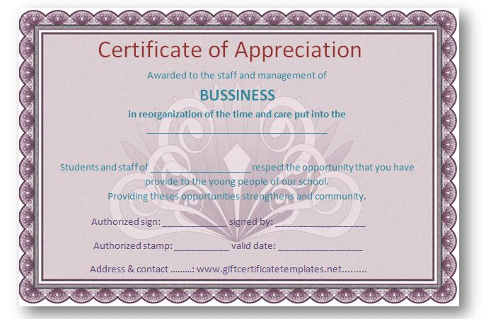 certificate of appreciation sample - Free Certificate Templates
