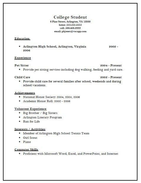 College Scholarship Resume Template - Best Resume Collection