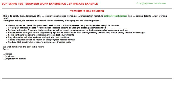 Software Test Engineer Work Experience Certificate