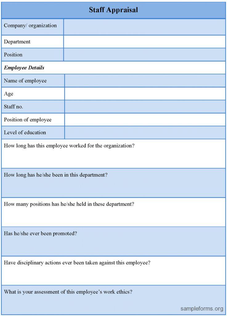 Appraisal Template Staff Document 31 Performance Word Supplier ...