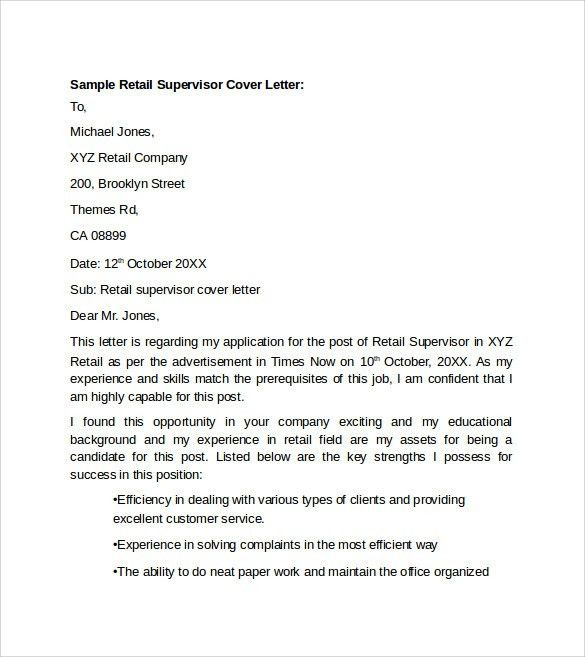 retail supervisor cover letter example. cover letter examples for ...