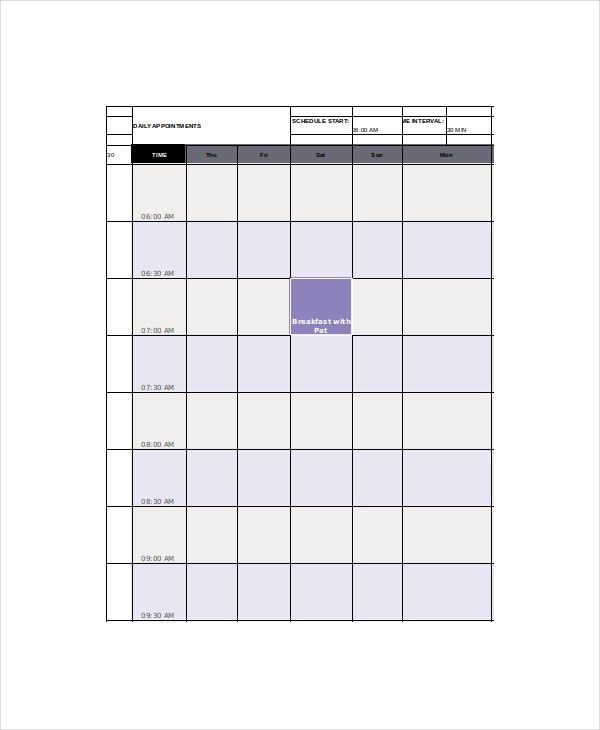 Appointment Calendar Template - 7+ Free Word, Excel, PDF Documents ...