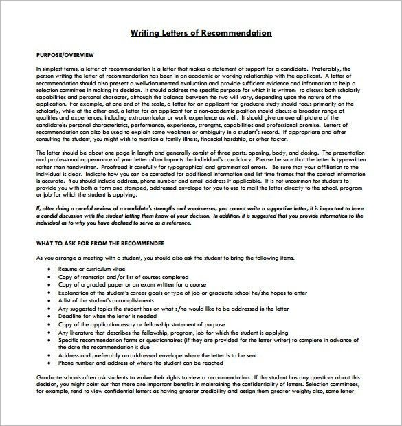 8+ Letter of Recommendation for Student – Free Sample, Example ...