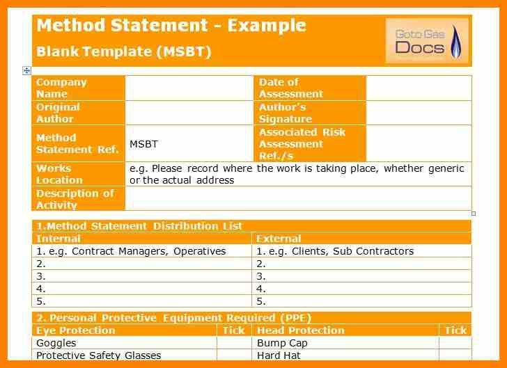 6+ method of statement template | target cashier