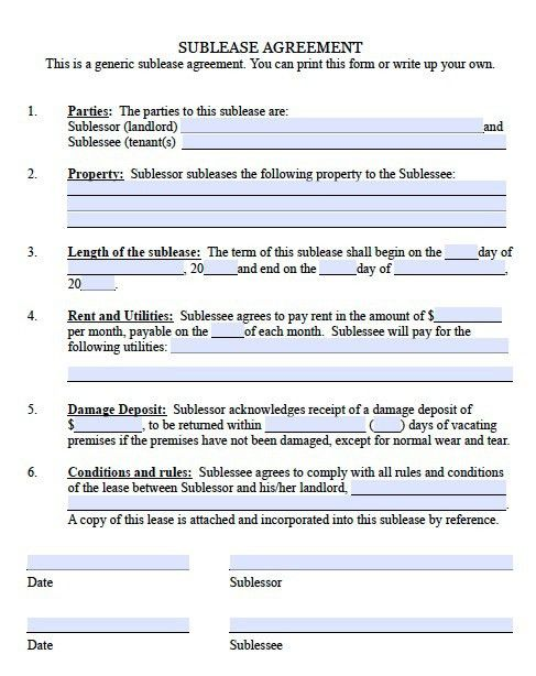 Sublease Agreement Template | cyberuse