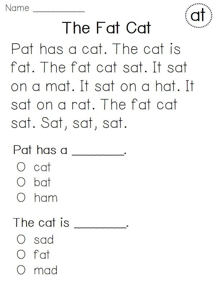 math worksheet : kindergarten reading fluency and comprehension passages : Kindergarten Comprehension Worksheet