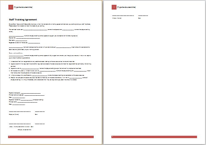 MS Word Staff Training Agreement Template | Word Document Templates