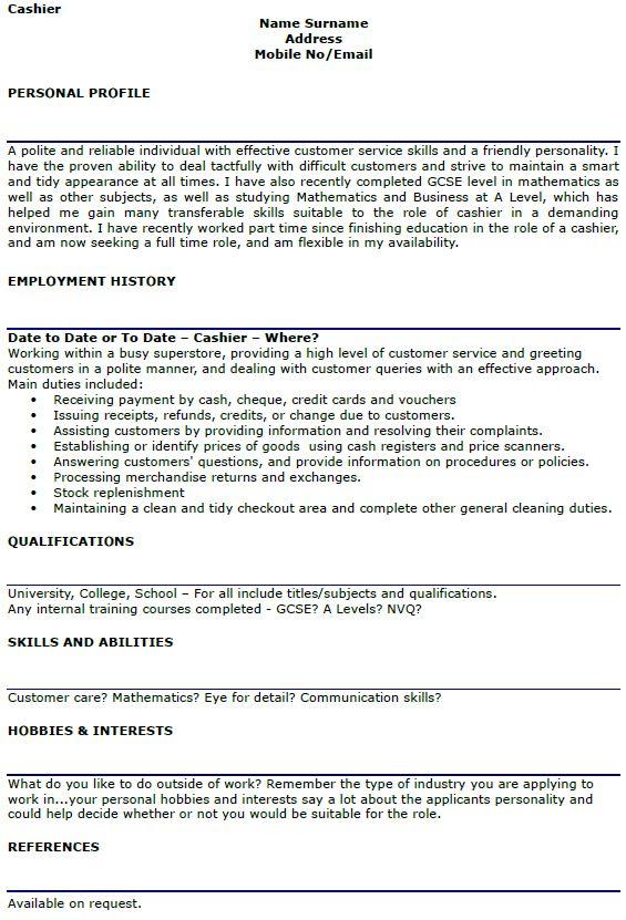 Cashier CV Example and Template - lettercv.com