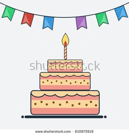 Birthday Cake Bunting Flags Flat Design Stock Vector 585215959 ...