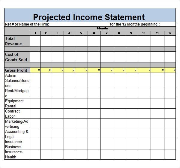 Projected income statement template excel 6335680 - vdyuinfo - projected income statement template