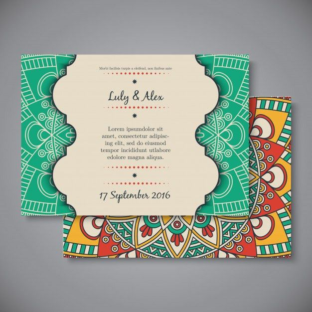 Ethnic wedding invitation card template Vector | Free Download