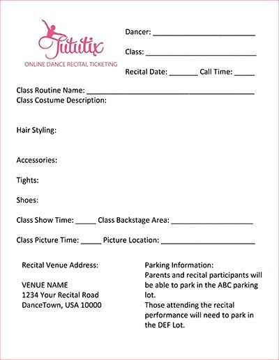 Dance Recital Information Sheet Template | TutuTix
