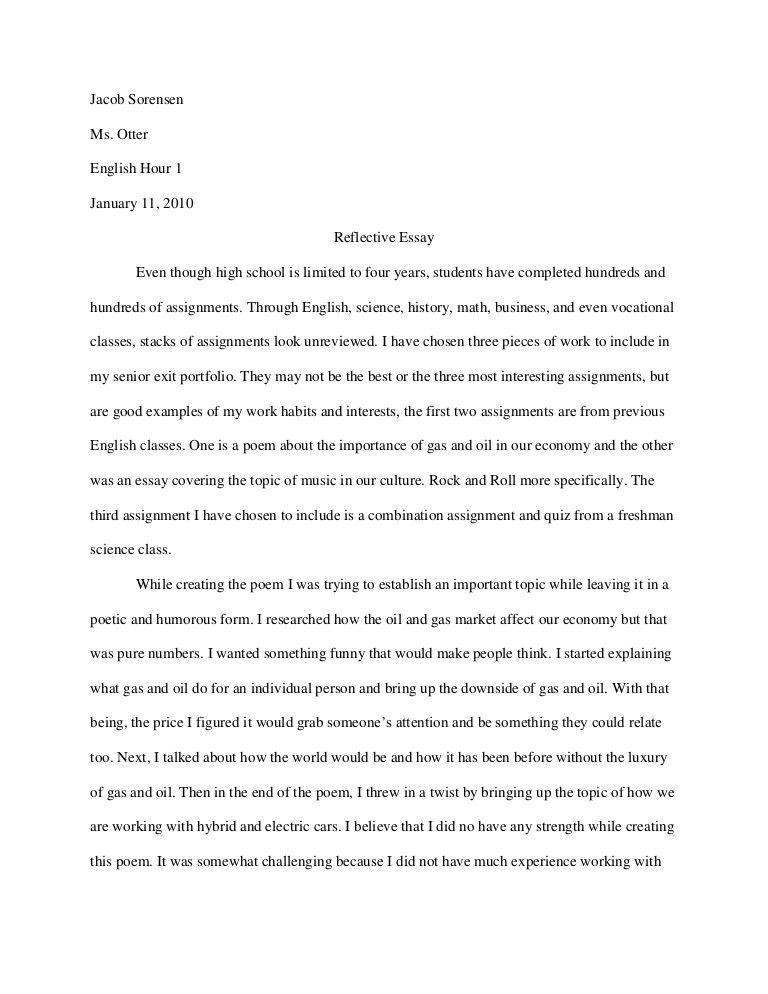 Reflective essay topics for high school students