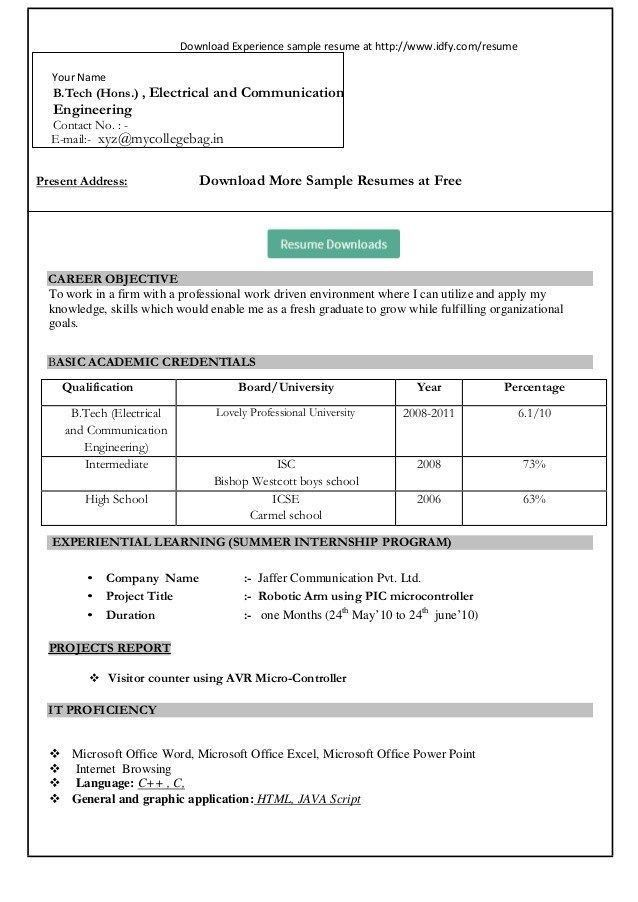 Download Sample Resume Format - Gallery Creawizard.com