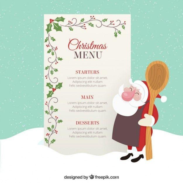 Christmas menu template with mistletoe decoration Vector | Premium ...