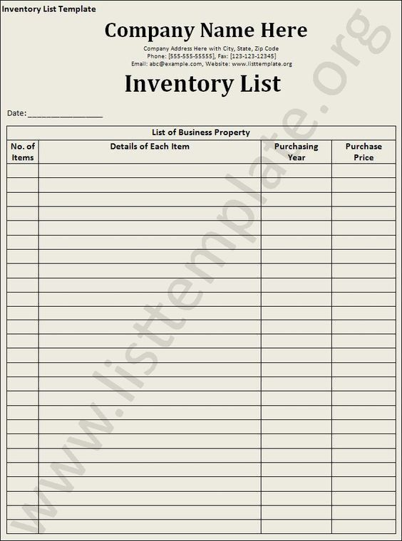 Inventory-List-Template | work space | Pinterest | Craft, Craft ...