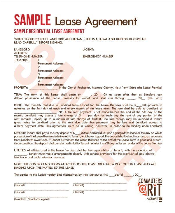 Sample Lease Agreement. Free Download - Standard Florida ...