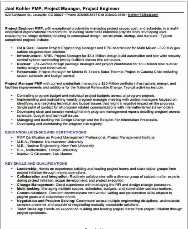 Sample Pmp Project Manager Resume. project manager resume 9 ...