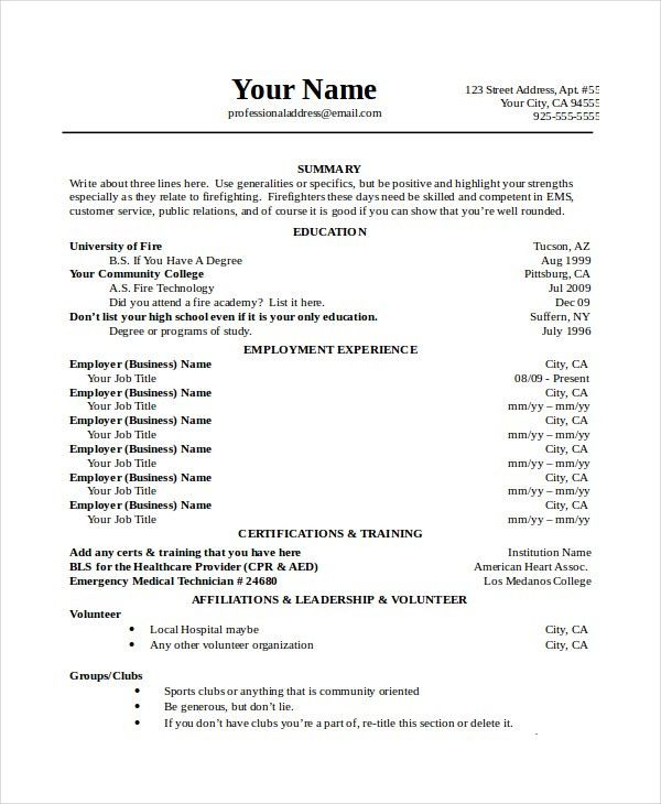 Firefighter Resume Templates. Volunteer Firefighter Resume ...