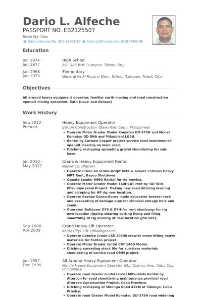 Equipment Operator Resume samples - VisualCV resume samples database