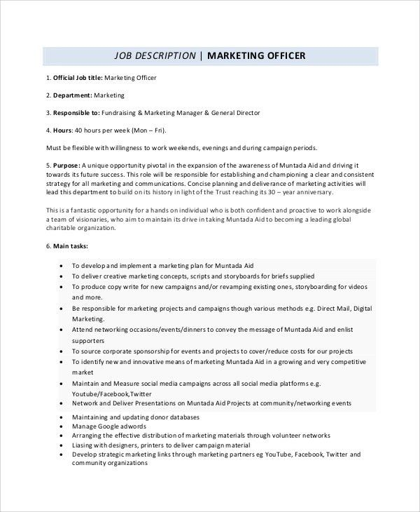 Director Of Marketing Job Description Key DutiesResponsibilities