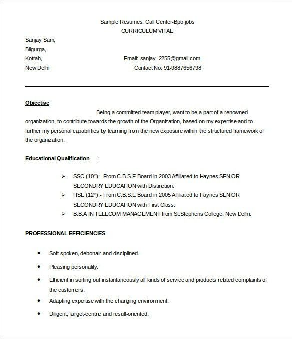BPO Resume Template – 22+ Free Samples, Examples, Format Download ...