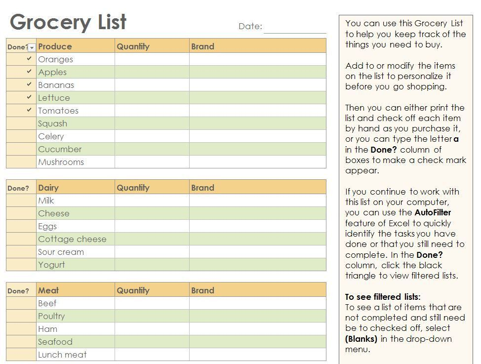 Grocery Checklist | Grocery List Template