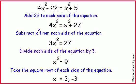 Algebra: Quadratic Equations with No Linear Term ...
