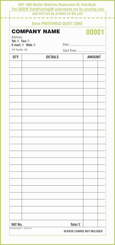 Hotel and Restaurant Waitress Order Forms NCR Sets Template
