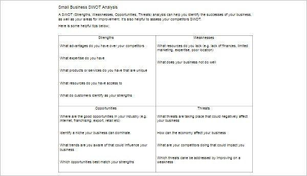 Swot Analysis Template - Free Word, PDF, Sample | Creative Template
