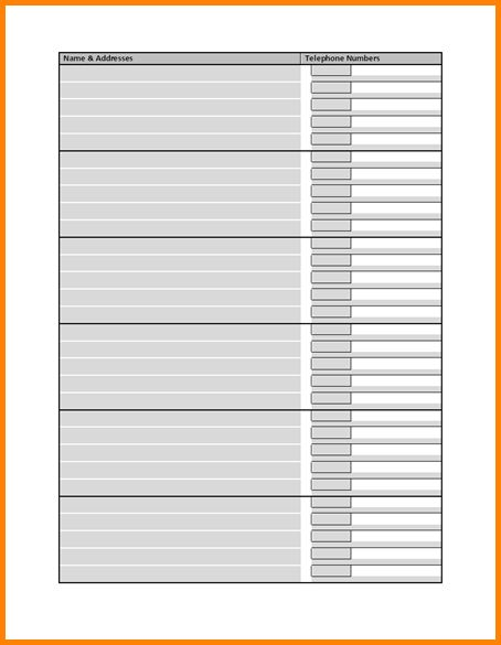 Address List Template Printable Address Listbook Template For Ms – Address List Template
