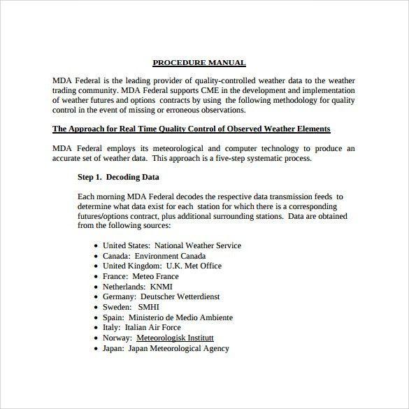 Sample Procedure Manual - 7+ Examples & Format