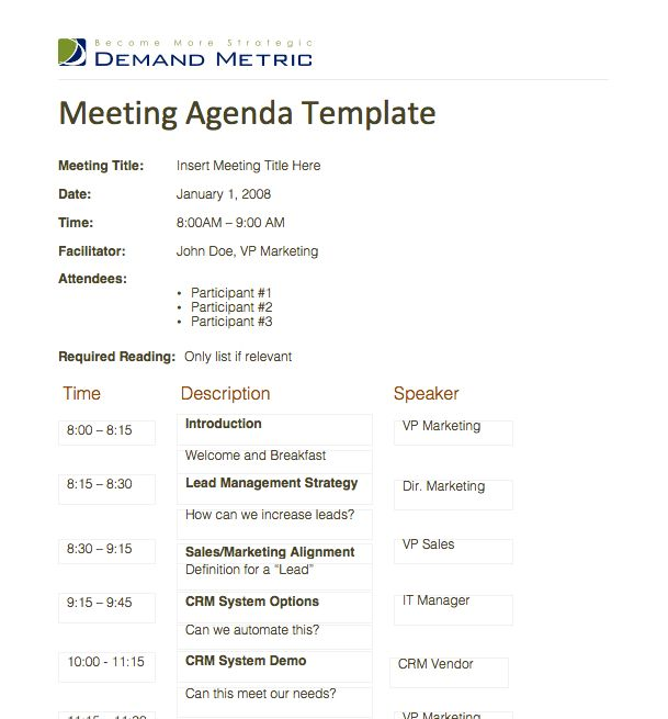 Agenda Template Meeting | Professional Templates - Part 7