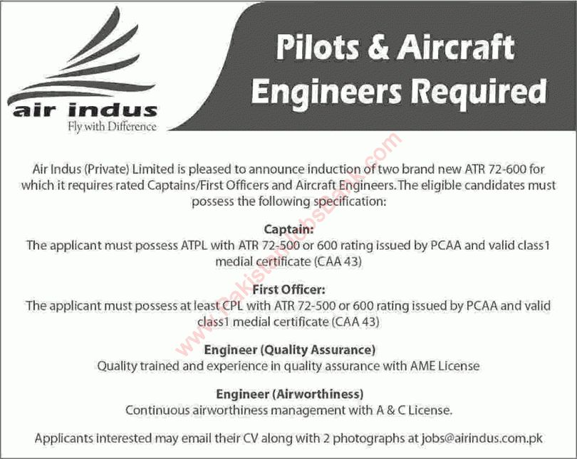 Air Indus Jobs 2016 August Captains, First Officers & Aircraft ...