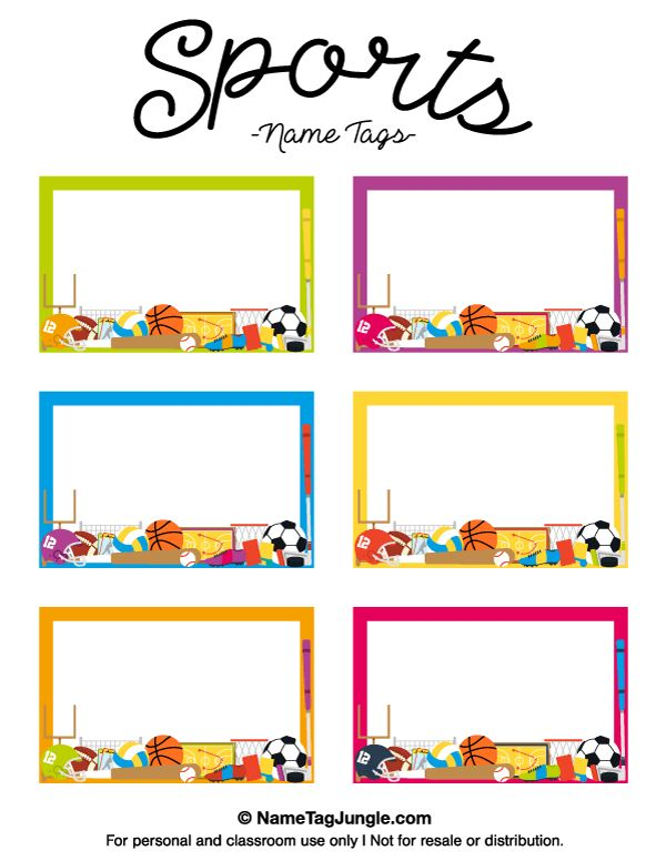 Free printable sports name tags. The template can also be used for ...