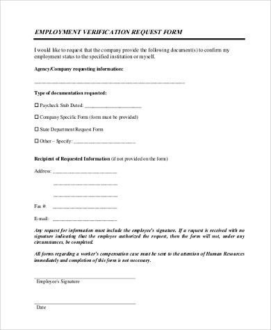 Sample Employment Verification Request Forms - 8+ Free Documents ...