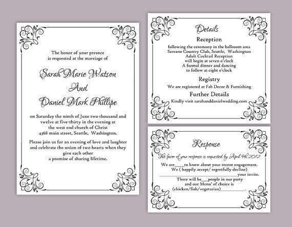 Diy Printable Wedding Invitations Templates | wblqual.com