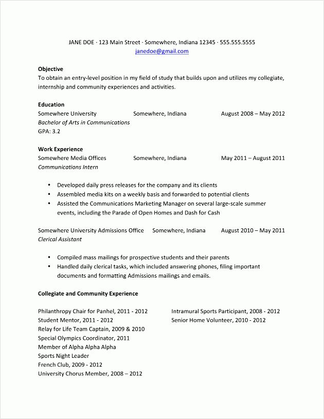 resume for graduate school